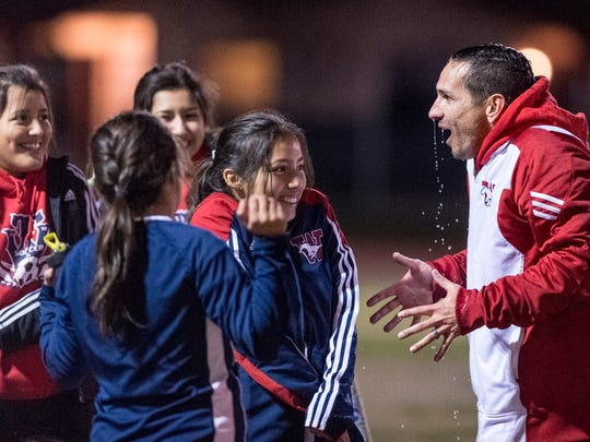 Tulare Western soccer coach Scott Rogers reacts to