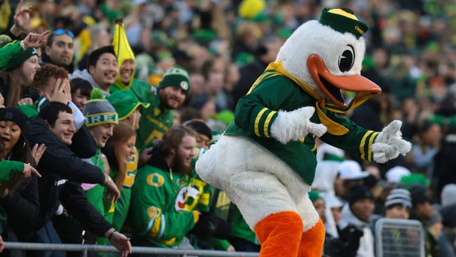 Nov 25, 2017; Eugene, OR, USA; Oregon Ducks mascot entertains fans in the first half against the Oregon State Beavers at Autzen Stadium. Mandatory Credit: Scott Olmos-USA TODAY Sports