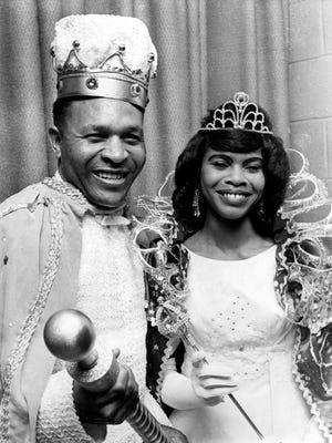 21 Apr 67 - King Randy Warren (Left) and Queen Lois Gibson (Right) were selected to reign over the 1967 Cotton Makers Jubilee.  Warren is an announcer and sports director for WLOK Radio and Gibson is a clerk-typist at Memphis Defense Depot.  The festivities took place at Club Paradise at 645 East Georgia Avenue.