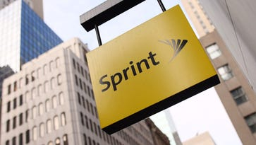 The Sprint logo hangs on the side of their Fifth Avenue store in New York.