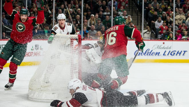 Dec 17, 2016; Saint Paul, MN, USA; Minnesota Wild forward Tyler Graovac (44) celebrates after scoring a goal during the second period against the Arizona Coyotes at Xcel Energy Center.