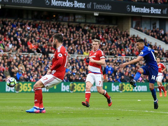 Manchester United's Jesse Lingard, left, scores his side's second goal of the game during their English Premier League soccer match against Middlesbrough at the Riverside Stadium, Middlesbrough, England, Sunday, March 19, 2017. (Nigel French/PA via AP)