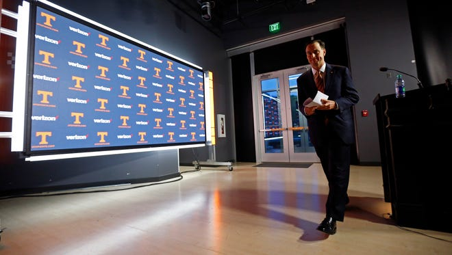 University of Tennessee athletic director, John Currie leaves after speaking during a press conference announcing the firing of head football coach, Butch Jones, Sunday, Nov. 12, 2017, in Knoxville, Tenn.  (Photo by Wade Payne, Special to The Knoxville News Sentinel)
