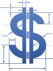 Element of blueprint drawing in shape of money sign.