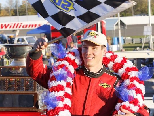 Matt Hirschman in victory lane at Chemung Speedrome