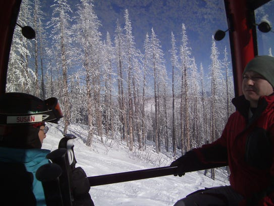Skier Susan Finch is entranced by the view from her