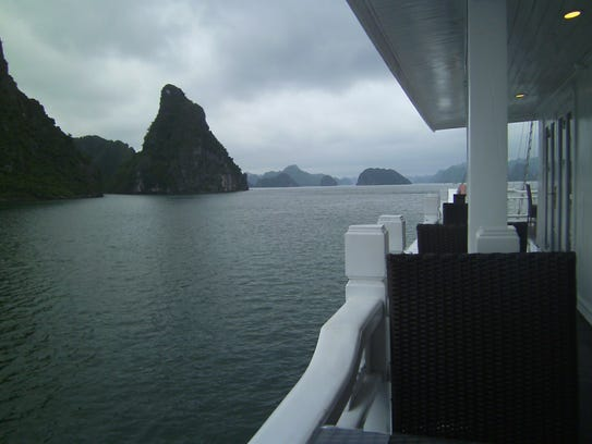 "From our yacht's deck, Halong Bay's little ""islands"""