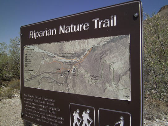 Hikers enjoy the short nature trail at Oliver Lee Memorial
