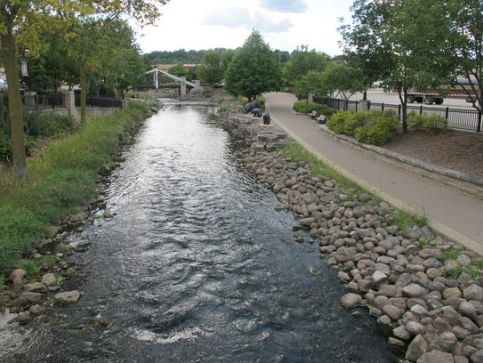 The Fox River just north of downtown Waukesha is seen