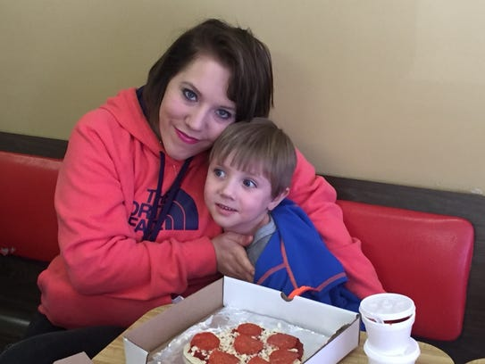Nicole Stapp and her son Collin on a field trip to
