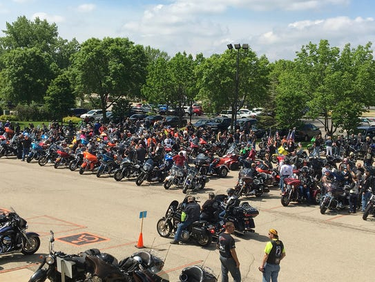 Bikers get ready to ride the first stage of the Patriot