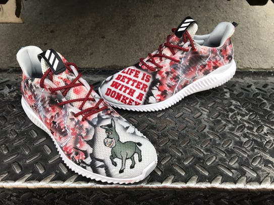 Custom shoes for Zack Cozart, a gift from Adam Duvall