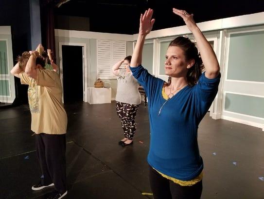 "Melissa Karr as Celia from ""Calendar Girls"" rehearses"
