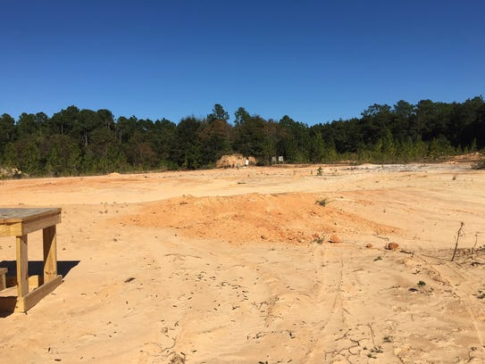 A view of the pit used for target practice on Longleaf