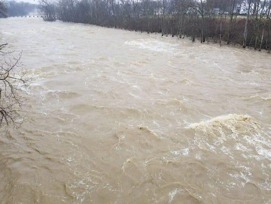 Rainfall led to rushing waters near the Ballville Dam