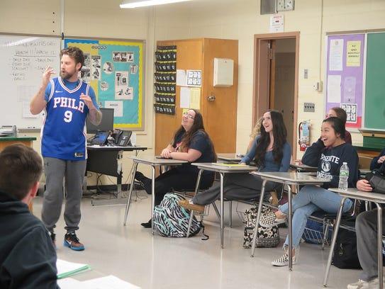 Matt Groark, a health and phys-ed teacher, talks to