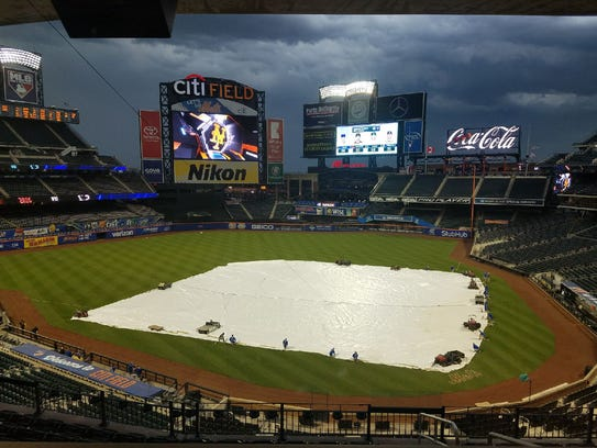 Citi Field looks empty as the storm rolled into New