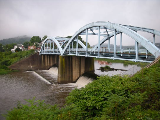 This photo released by John Gearan shows the bridge