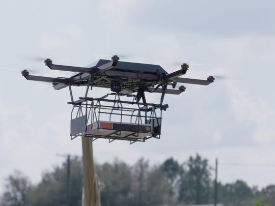 A Work Horse Group drone that docks on top of a UPS van being tested near Lithia, Florida.