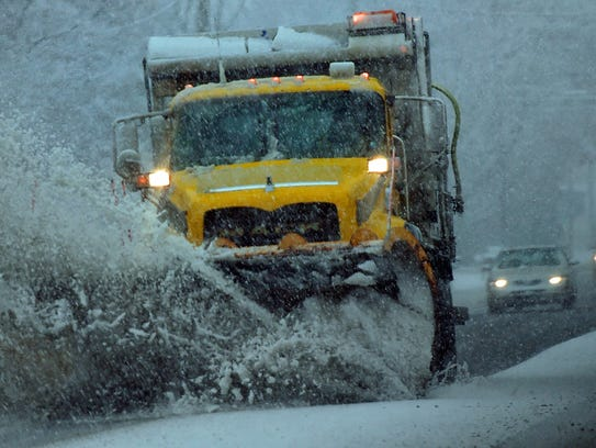 A PennDOT snow plow clears a section on U.S. 11, Chambersburg,