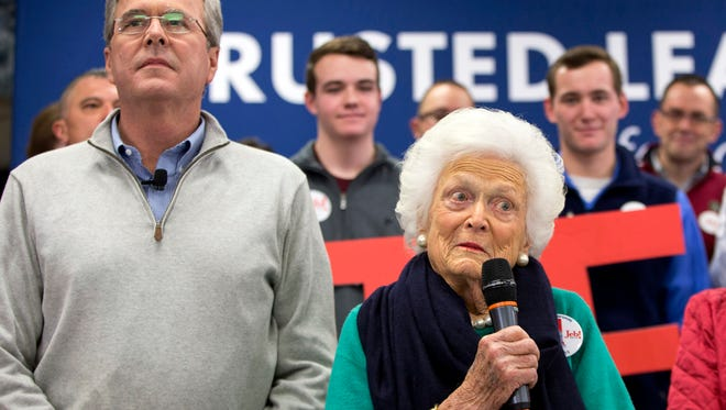 FILE - In this Feb. 4, 2016 file photo, Barbara Bush, mother of Republican presidential candidate, former Florida Gov. Jeb Bush, introduces her son at a town hall meeting in Derry, N.H. Eyebrows shot up when Srah Palin used a salty acronym, WTF, to mock the policies of President Barack Obama. How quaint. Five years later, Donald Trump has blown right past acronyms in a profanity-laced campaign for the Republican nomination that has seen multiple candidates hurl insults and disparaging remarks at one another and their critics. Mrs. Bush recently complained that her son was too polite.  (AP Photo/Jacquelyn Martin, File)