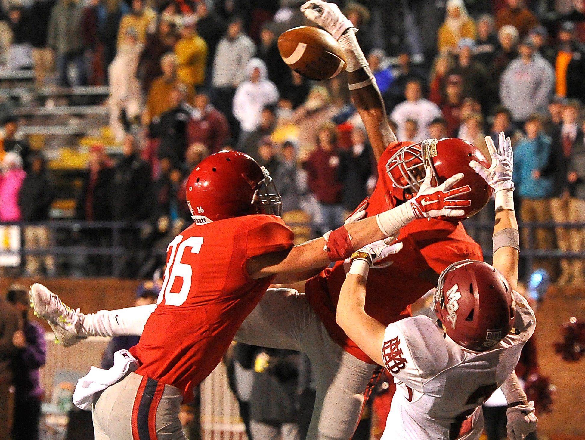 Brentwood Academy's Coutrell Plair knocks down a pass intended for Montgomery Bell Academy's Montgomery Owen on the last play in regulation to send the BlueCross Bowl DII-AA state title game into overtime on Dec. 3, 2015, in Cookeville.
