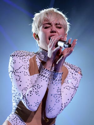 Miley Cyrus performs onstage on Feb. 14 in Vancouver, Canada.