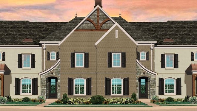 The single-family townhomes planned behind Boost FitClub would be similar to these rustic modern townhomes at Harpeth Park in Bellevue.