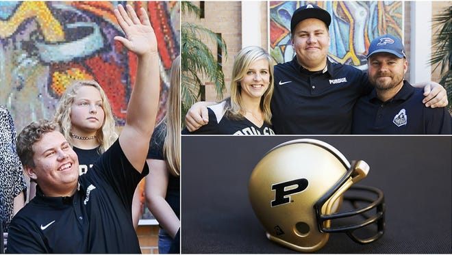 Bishop Verot High School's Viktor Beach signs a national letter of intent to play football at Purdue University. Beach and his family celebrated the accomplishment Wednesday at Bishop Verot in Fort Myers.