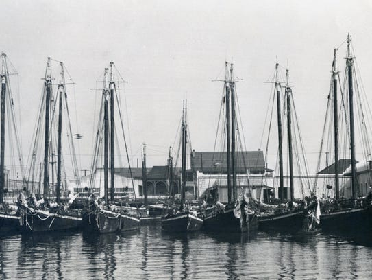 Smacks — small fishing boats — are docked in Pensacola in this undated photo.