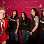 "Members of Hell's Belles are, left to right, Adrian ""Angus"" Conner, Laura D, Lisa Brisbois, Mandy Reed and Amber Saxon."