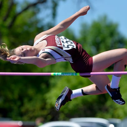 Fort Benton's Nicole Axtman competes in the high jump