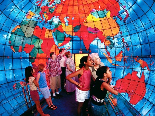 Massachusetts - The Mapparium at the Christian Science Center in Boston is a spherical stained glass room that visitors enter to view a map of the world dating from 1935.