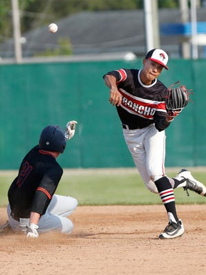 Lafayette Jeff shortstop Justin Walker forces Dylan Levesque of Harrison out at second but can't turn the double play in the top of the fifth inning Wednesday, May 25, 2016, in the 4A baseball sectional at Loeb Stadium. Harrison defeated Jeff 1-0.