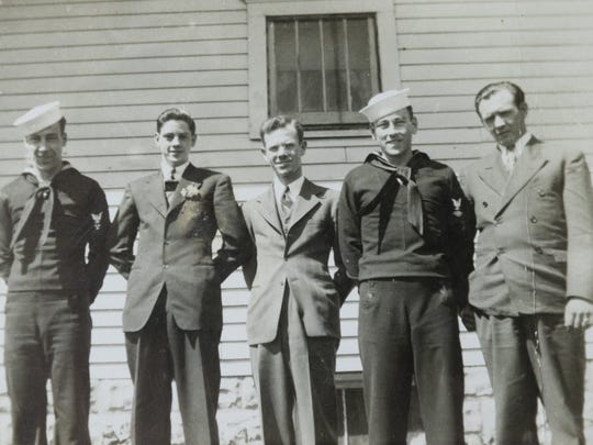 An early photograph of (from left) Logan Kidwell, Joe Kilps, Jim Alsman (family friend), Carl Kidwell and George Strange (brother-in-law).