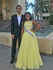 Jazmyne Pledger at the pageant with her brother and