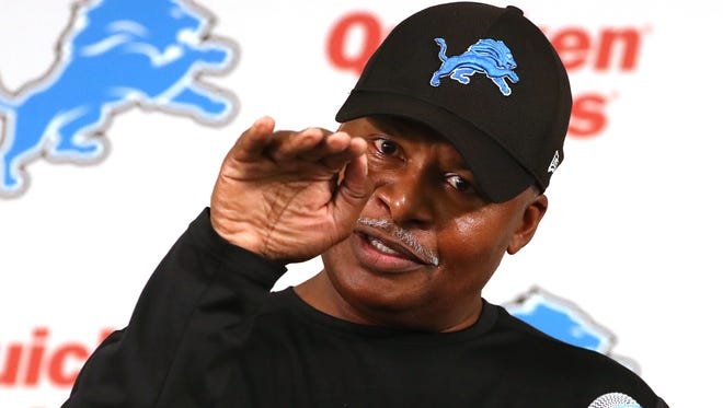 Lions coach Jim Caldwell talks with the media during the first day of training camp on Thursday in Allen Park.