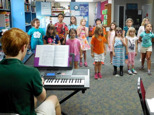 """Students rehearse """"The Trial of the Big Bad Wolf """"by Val Cheatham at the Magnolia School. theater camp."""