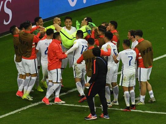 Chile celebra el pase a la final de Copa Confederaciones,