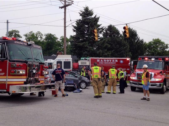 Police respond to a crash involving a motorcycleat junction of Grandview and Blooming Grove roads on Thursday.