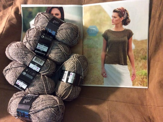 Here is a photo of the sweater that Susan wants, along with the yarn I bought to make it.