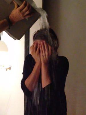 Jennifer Aniston takes the Ice Bucket Challenge.