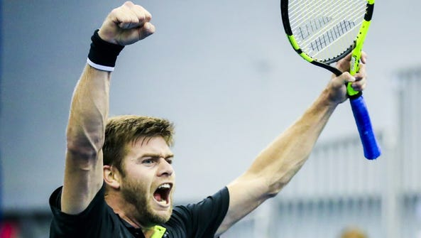 Ryan Harrison of the USA reacts as he defeats Donald