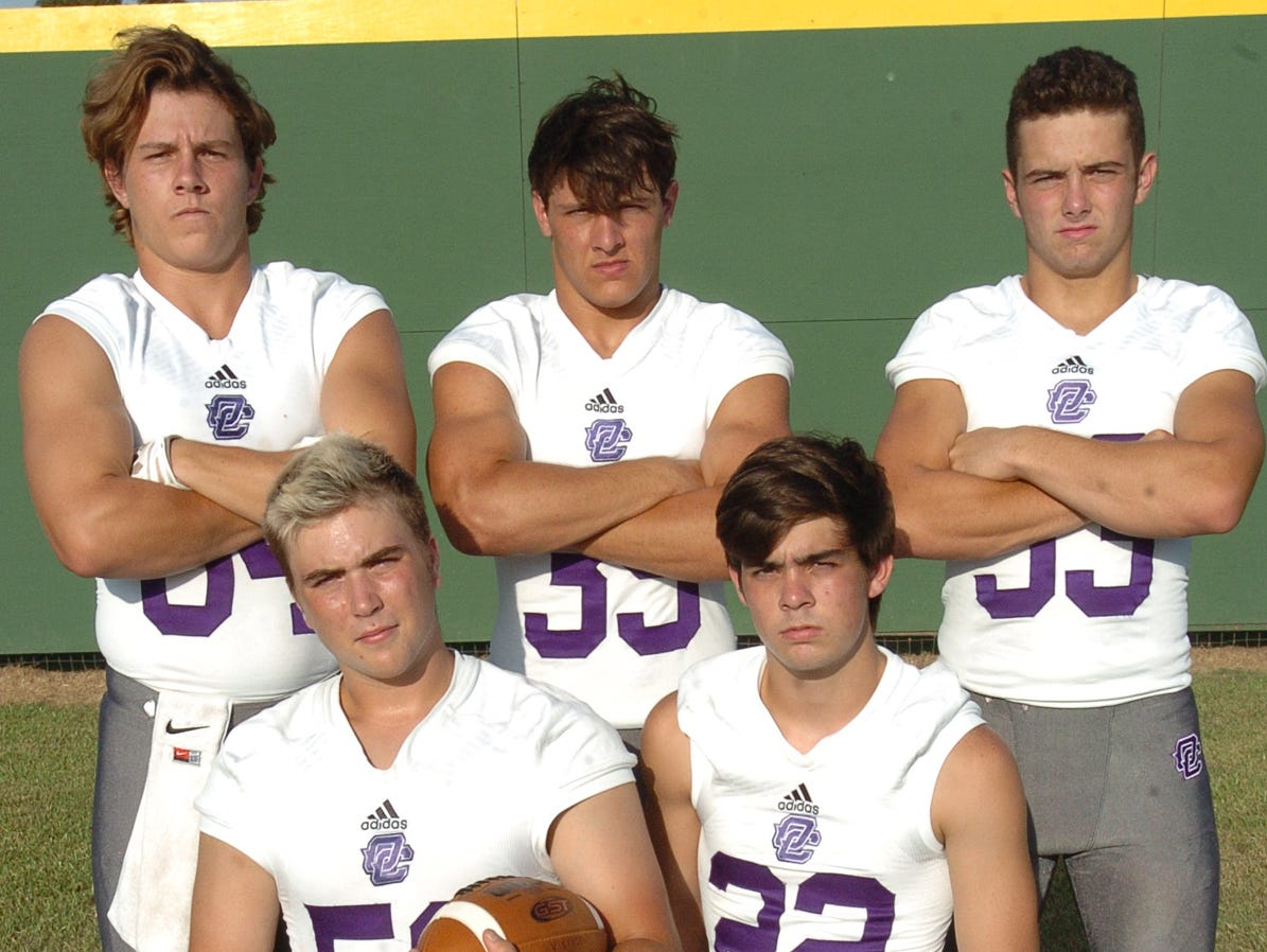 Opelousas Catholic's returning defensive starters Caleb Theriot (84), Aaron Whipp (39), Eli Waters (33), Gaige St. Cyr (52) and Nick Mouret (22).