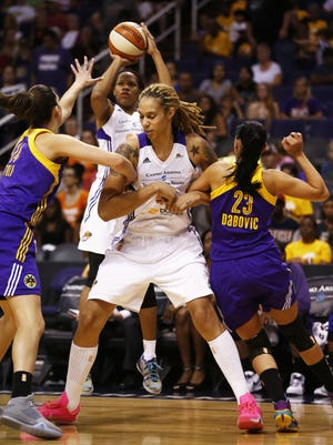 Phoenix Mercury Brittney Griner against Los Angeles Sparks during WNBA action on Friday, August 21, 2015 at US Airways Center in Phoenix, AZ.