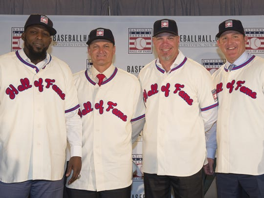 The National Baseball Hall of Fame and Museum class of 2018 press conference at the Regis Hotel in New York, N.Y. on Thursday, January 25, 2018. From left, Vladimir Guerrero, Trevor Hoffman, Chipper Jones and Jim Thome will be honored as part of the Hall of Fame's Induction Weekend July 27-30, 2018 in Cooperstown, N.Y.