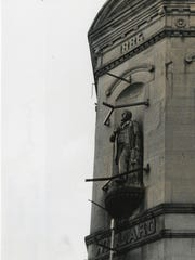 This statue of early Muncie businessman Charles Willard