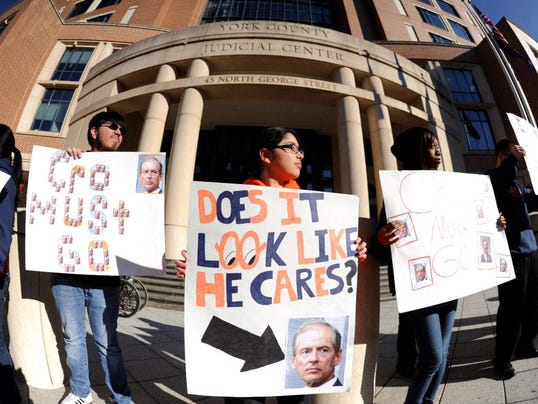 Students protest the appointment of David Meckley as receiver for York City School District outside the county judicial center Dec. 26.