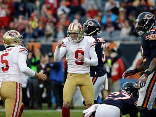 San Francisco 49ers kicker Robbie Gould (9) reacts after kicking a game winning field goal during the second half of an NFL football game against the Chicago Bears, Sunday, Dec. 3, 2017, in Chicago. The 49ers won 15-14. (AP Photo/Nam Y. Huh)