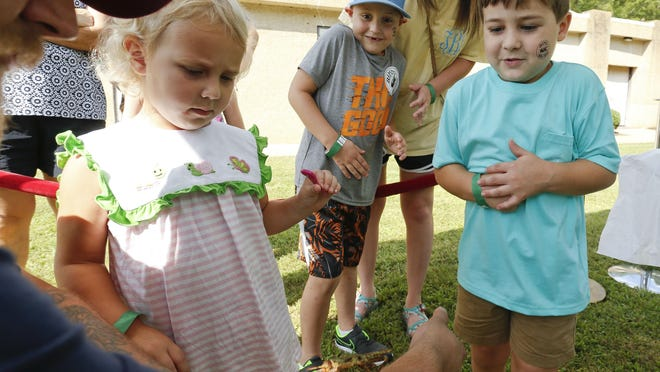 Raelynn, Bentley, and Oakley Bryant react as they look at a large mantis during the Bama Bug Fest at the Mildred Westervelt Warner Transportation Museum in Tuscaloosa Saturday, July 27, 2019. The bug adventures were sponsored by the museum, by the Alabama Museum of Natural History and the Tuscaloosa Public Lirbrary.